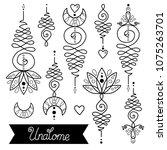 vector set of nice hand drawn... | Shutterstock .eps vector #1075263701