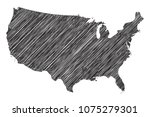 scribble map of united states... | Shutterstock .eps vector #1075279301