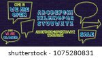 neon speech bubble and fonts... | Shutterstock .eps vector #1075280831