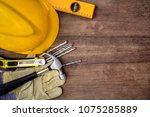 hammer  protective gloves ... | Shutterstock . vector #1075285889