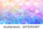 magic mermaid scales watercolor ...   Shutterstock . vector #1075292507