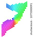 spectrum hexagon somalia map.... | Shutterstock . vector #1075300091
