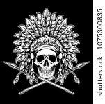 vector of indian skull warrior... | Shutterstock .eps vector #1075300835