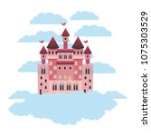 medieval castle on the sky | Shutterstock .eps vector #1075303529