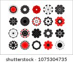flowering icon set. stylized... | Shutterstock . vector #1075304735