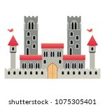 medieval castle with flags | Shutterstock .eps vector #1075305401