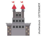 medieval castle with flags | Shutterstock .eps vector #1075306859