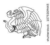eagle devouring snake mexican... | Shutterstock .eps vector #1075309445