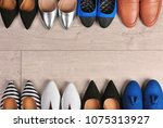 different female shoes on... | Shutterstock . vector #1075313927