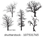 Set Of Dead Trees Silhouette