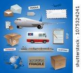 delivery vector elements  posts ... | Shutterstock .eps vector #1075324241