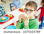 little caucasian boy in glasses ... | Shutterstock . vector #1075325789