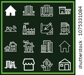 set of 16 buildings outline... | Shutterstock .eps vector #1075331084