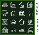 set of 16 buildings outline... | Shutterstock .eps vector #1075331117