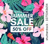 summer sale tropical colorful... | Shutterstock .eps vector #1075343654
