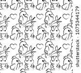 grunge parrots and beaver... | Shutterstock .eps vector #1075344179