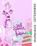 summer fashion background | Shutterstock .eps vector #1075344854