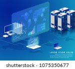 concept of big data processing  ... | Shutterstock .eps vector #1075350677