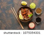 glass noodles with vegetables... | Shutterstock . vector #1075354331