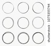 set of vector hand drawn... | Shutterstock .eps vector #1075355744