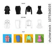women clothing black flat...   Shutterstock .eps vector #1075368035