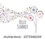pink gold blue vector dandelion ... | Shutterstock .eps vector #1075368104