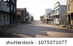 Western Town Road With Various...