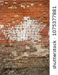weather beaten brick wall  copy ...   Shutterstock . vector #1075377881