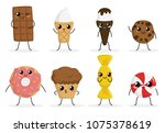 cute funny food characters set... | Shutterstock .eps vector #1075378619