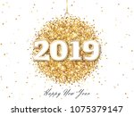 happy new year 2019 greeting... | Shutterstock .eps vector #1075379147