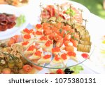 catering table set service with ... | Shutterstock . vector #1075380131