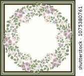 floral round frame from cute... | Shutterstock .eps vector #1075380761