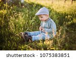 baby boy 1 2 years old... | Shutterstock . vector #1075383851
