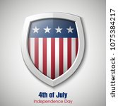 independence day usa shield... | Shutterstock . vector #1075384217