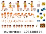 tourist woman creation kit  ... | Shutterstock .eps vector #1075388594