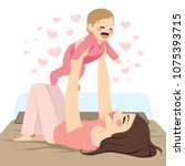 young mother holding baby girl... | Shutterstock .eps vector #1075393715