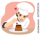 beautiful young chef woman... | Shutterstock .eps vector #1075393724