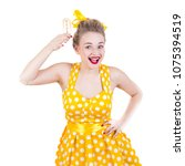 cheerful rockabilly girl in... | Shutterstock . vector #1075394519