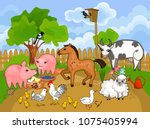 rural landscape with different... | Shutterstock .eps vector #1075405994