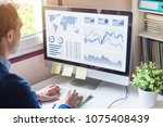 businessman analyzing business... | Shutterstock . vector #1075408439