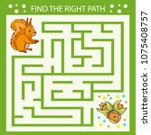 children maze. find the right... | Shutterstock .eps vector #1075408757