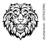 lion head tattoo roaring. | Shutterstock .eps vector #1075415981