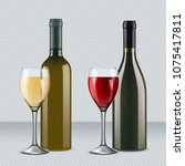 glasses of wine and bottles... | Shutterstock .eps vector #1075417811