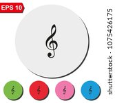 treble clef flat round colorful ... | Shutterstock .eps vector #1075426175