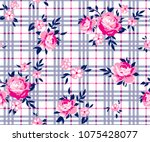 bouquet roses pattern with... | Shutterstock .eps vector #1075428077