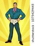 superhero businessman in funny... | Shutterstock .eps vector #1075429445
