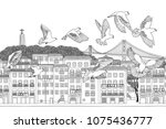 birds over lisbon   hand drawn... | Shutterstock .eps vector #1075436777