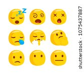 set of funny classic emojis....   Shutterstock .eps vector #1075437887