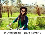 cheerful modern hipster... | Shutterstock . vector #1075439549