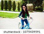 cheerful modern hipster... | Shutterstock . vector #1075439591